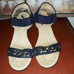 Anne Klein Navy Blue Sandal Wedges